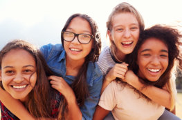 beautiful girl playing bubbles