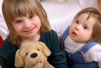 two cute girls with down syndrome